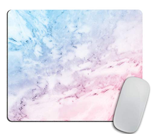 Marble Mouse Pad, Pastel Toned Cloudy Hazy Crack Lines Stained Antique Shabby Chic Design, Standard Size Rectangle Non-Slip Rubber Mousepad, Pale Blue Baby Pink