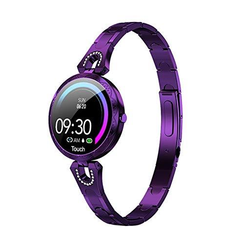 Moda Mujer Reloj Inteligente Dispositivo portátil Impermeable Monitor de Cuerpo Deportes smartwatch Hembra Dama (Color : Purple)