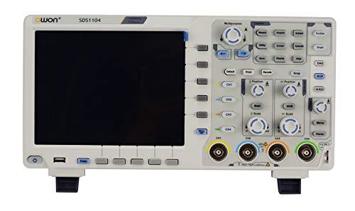 OWON Osciloscopio digital SDS1104 de 4 canales, 100 MHz, ancho de banda 1 GS/s de 8 pulgadas, osciloscopio LCD a color