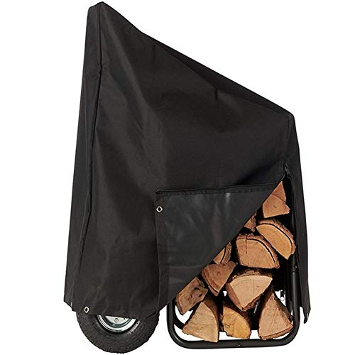 Affordable Firewood Log Rack Cover with Zipper, 600D Heavy Duty Weather-Resistant Outdoor Firewood R...