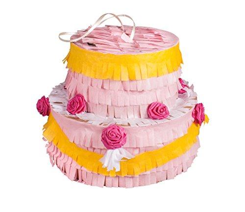 Rayher 70034000 Piñata Fancy Cake Bastelpackung, 20 cm ø, Höhe 17 cm, unbefüllt, zum Befüllen mit Süßigkeiten, ideal für Kindergeburtstage, Partys, Hochzeiten, usw., rosa/weiß/gelb