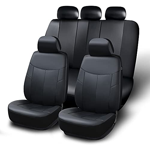 Motowell Car Seat Cover Full Set Luxury Leather Soft Waterproof Automotive Front-Back Carseat Cushion Airbag Compatible and Split Bench for Cars SUV Truck Van Seat Protectors Black Universal