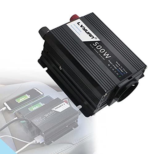 TERMALY Inversor De Corriente De 1000W DC 12V a AC 220V Transformador Adaptador De Cargador De Automóvil con Enchufe De 3 Pines Y Puertos USB Dobles (Negro),500W