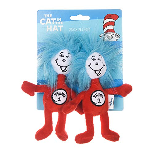Dr Seuss The Cat in The Hat 2 Piece Plush Cat Toys with Catnip Inside |6 Inch Plush Fabric Cat Toys from Dr Seuss Collection | Stuffed Animal Cat Toys with Cat in The Hat#039s Thing 1 and Thing 2
