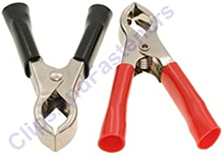Clipsandfasteners Inc 1 Pair 30 Amp Test Clips Black And Red Insulation