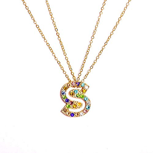 DGSDFGAH Necklace Women Cubic Zirconia Initial Charm Necklace Ladies Necklace Fashion Color Crystal Bezel S Initial A-Z Letter Choker Necklace For Women Gifts For Women Elegant Gift Box