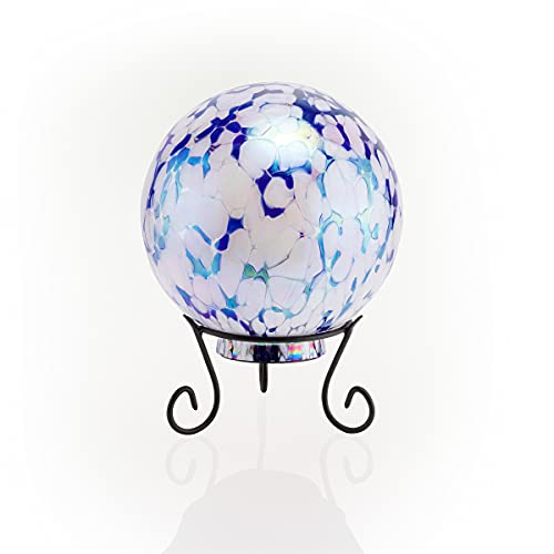 Alpine Corporation HGY308A-TM Gazing Globe with LED Light, 10 Inch Tall, Blue and White