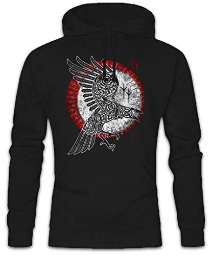 Urban Backwoods Norse Raven Hoodie Kapuzenpullover Sweatshirt Schwarz Größe L