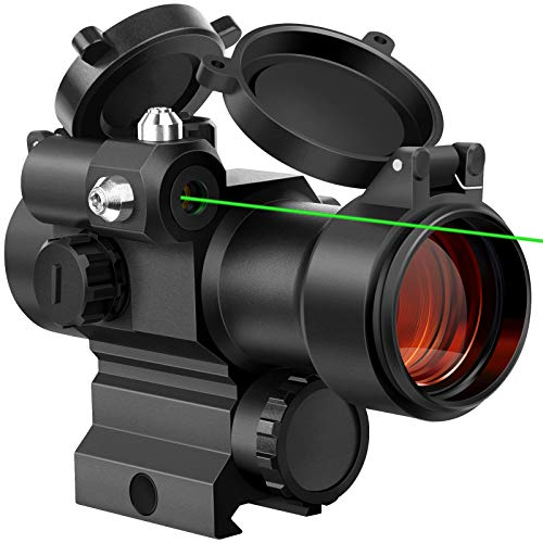 MidTen 1x29mm Red Dot Sight Scope Optics with Green Laser Waterproof Reflex Sight for 20mm Picatinny Rail