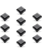 Enkotrade 10 stuks hekkappen zwart voor buitenafmetingen 100 x 100 mm, buisdoppen van hoogwaardig kunststof, piramide vierkant hekpalenkappen paaldeksel hekafdekking
