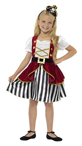 Smiffy'S 44404L Disfraz Deluxe De Pirata Para Chica Con Vestido Y Sombrero, Rojo / Negro, L - Edad 10-12 Años