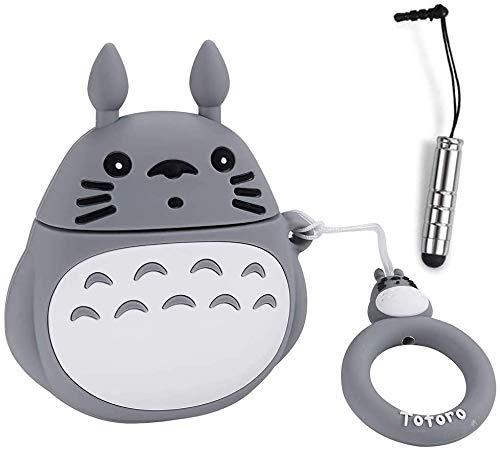 ZZYYLL Schutzhülle für Totoro Airpod 2/1 Einzigartige Mode Niedlich Hülle Weiche Silikon Spaß Karikatur Fälle Schutzhaut für AirPods 2&1 Cooles Mit Schlüsselbund 2 Stücke,01