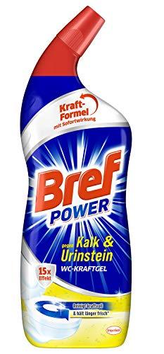 Bref Power WC-KraftGel 15x Effekt gegen Kalk und Urinstein, 750 ml, WC Reiniger für kraftvolle Reinigung