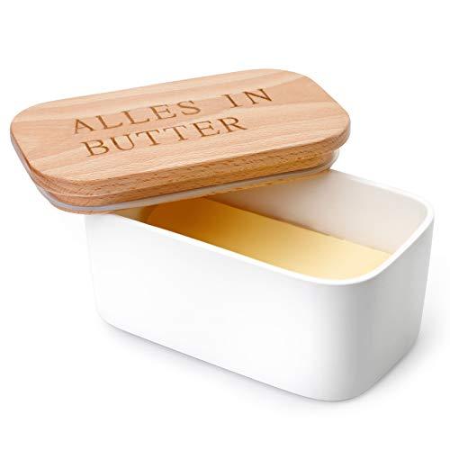 Sweese 303.214 Butterdose Porzellan für 250 g Butter, Holzdeckel mit Silikon-Dichtlippe, Alles in Butter, Weiß