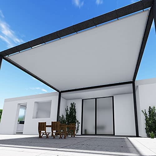 TANG Sunshades Depot 14' x 14' FT Waterproof Rectangle Sun Shade Sail 220 GSM Light Gray Straight Edge Canopy with Grommet UV Block Shade Fabric Pergola Cover Awning Customize Available