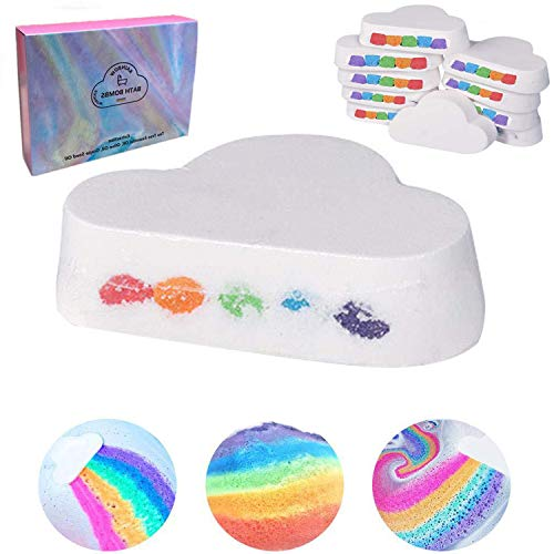Aox Women Handcraft Rainbow Bath Bombs Gift Set,Organic Bubble Fizzy Spa Kit with Natural Essential Oils,Great for Spa or Bubble Bath,Best Gift for Mother Birthday,Her/Him,Wife,Kids (One Count)