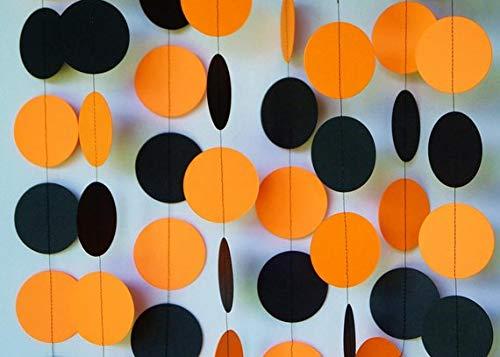 Seyal Orange and Black dot Garland - Birthday Decorations,Party Decorations,Party décor,Creative Decoration