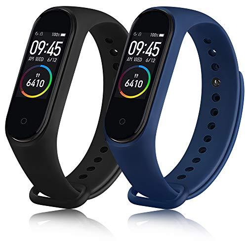 ZGCE 2 Stück Armband Kompatibel mit Xiaomi Mi Band 3/4 Armband, Bunt Silikon Wasserdicht Ersatzbandfür Xiaomi Mi Smart Band 4, Damen Herren (Schwarz+Navy blau)
