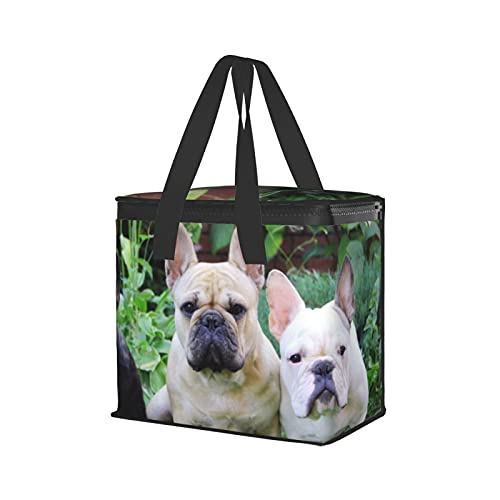 Cute French Bulldog Puppyinsulated Shopping Bags For Groceries-Premium Quality Cooler Bag – Washable, Reinforced Bottom And Handles, Sturdy Zipper – Insulated Grocery Bags For Hot Or Cold, Food Delivery Bag