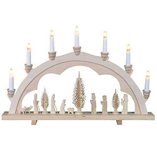 OBC Einfacher Schwibbogen, elektrische Beleuchtung/Krippe Natur/Lichterbogen Erzgebirge Stil, handgefertigt/Deko zu Weihnachten