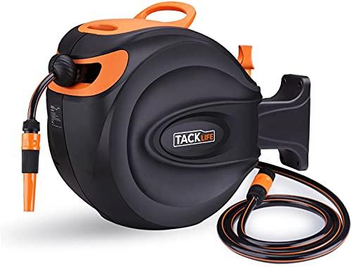 TACKLIFE Carrete para Manguera, 30+2m PVC Manguera Enrollable de 1/2, Rotación de 180°, 24 Bar, Retirar Automáticamente, Bloquear en Cualquier Posición, Boquilla Ajustable y Soporte - GHR2A