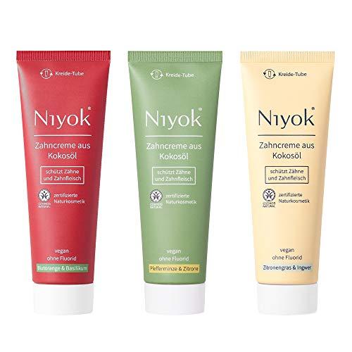 Niyok® Kokosöl Zahnpasta ohne Fluorid und Mikroplastik Plastik | Bio Naturkosmetik Sensitiv auch für Kinder | Xylit Herbal | natürliche Geschmack Toothpaste
