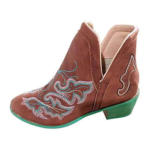Fullwei Cowboy Boots for Women,Women Vintage Pointed Toe Chunky Heel Ankle Booties Retro Slip On Western Cowgirl Casual Boot Walking Shoe (Brown, 8.5)