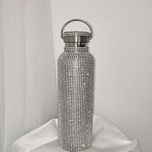 UKKO Taza Diamante Creativo Botella De Botella De Agua Botella De Agua Acero Inoxidable Temperatura Inteligente Muestra De Vacío Frasco Taza Regalo para Hombres Mujeres-Silver B 350Ml