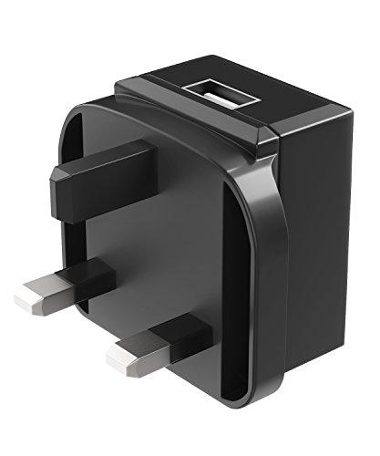 Caricabatterie USB da muro (UK Plug), Fosmon UK 3 Tipo di prong G Adattatore di alimentazione a spina 1 porte USB 2A, carica veloce per iPhone, iPad, Galaxy Samsung, Moto, LG, smartphone, tablet e altro