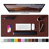 Aothia schreibtischunterlage,Mauspad, Büro-Schreibtischmatte, rutschfester PU-Leder-schreibtischmatte,wasserdichter schreibunterlage für Büro und Zuhause(91cmx43cm,Rufous)