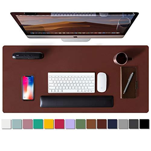 Alfombrilla de escritorio, alfombrilla de ratón, protector de escritorio, papel secante de cuero de PU antideslizante para juegos de oficina/hogar(92cmx44cm,Rufous)