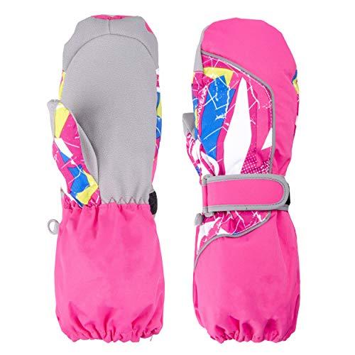 TRIWONDER Manoplas Impermeables para niños de 3-12 años Guantes Calientes para Exteriores Manoplas de Nieve Guantes de esquí de Invierno (Rosa roja, M (9-12 años))
