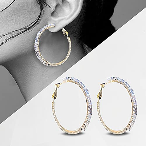 Fashion Gold Zircon Earrings for Women,Sparkle Round Hoops Crystals Zircon Earrings for Ladies Unique Temperament,Women Girls Gift
