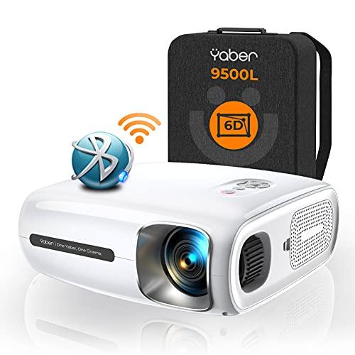 YABER Pro V7 9500L 5G WiFi Bluetooth Proyector, Auto 6D Keystone Corrección & 4P/4D, Infinity Zoom, HD Proyectores de película portátiles Home & Outdoor Video Proyector 4k para iOS/Android, etc. [Incluye bolsa adicional]