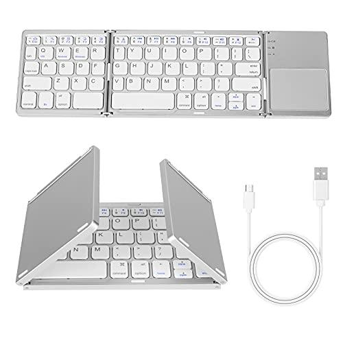 AIMMIE Teclado Bluetooth plegable, teclado inalámbrico portátil plegable con panel táctil, batería recargable USB de iones de litio para iOS, Android, sistema Windows Laptop Tablet Smartphone