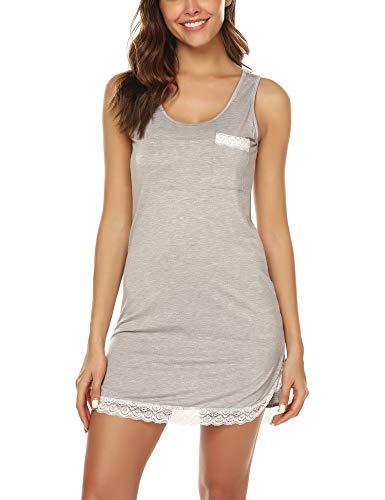 URRU Nightgowns for Women Sexy Sleeveless Tank Sleepdress Full Slip Nightie Grey L