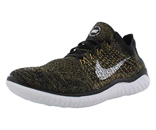 Nike Free RN Flyknit 2018 Men's Running Shoe Black/White-Club Gold-RED Orbit 8.5