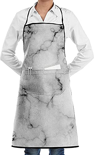 Marble Print Aprons for Women and Men, Kitchen Chef Apron with 2 Pockets