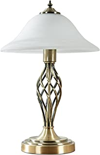 Traditional Style Antique Brass Barley Twist Table Lamp with a Frosted Alabaster Shade