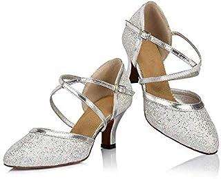 Anyfun Dance Shoes, Womens Ballroom Dancing Shoes Pumps, mid-Heel, Silver Glitter