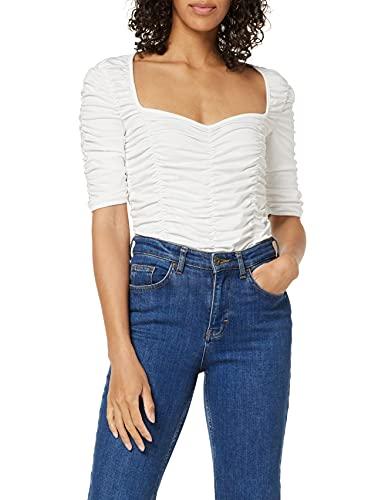 NA-KD Gathered Jersey Top Camisa, Blanco Roto, L para Mujer