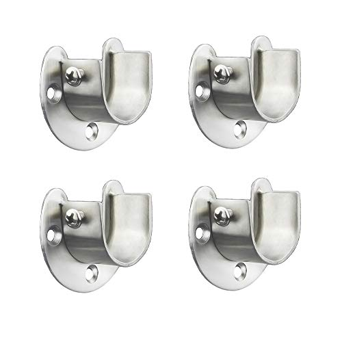 FYTRONDY Stainless Steel Wardrobe Closet Rod Bracket, U-Shaped Open Type Socket Bracket, Shower Curtain Rod Pole End Supports Sockets Flange (1-1/4 INCH, 4 Pack)