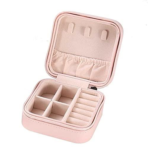 Caja de almacenamiento de joyería de doble capa cremallera organizador portátil para mujer pendientes collar pu cuero viaje joyero - S-rosa