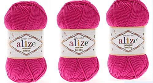 Alize Cotton Gold Hobby Garn, 55 % Baumwolle, 45 % Acryl, 3 Knäuel, 150 g fuchsia