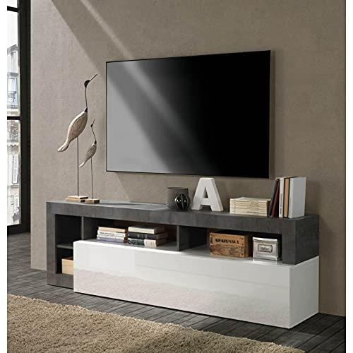 Mueble de TV moderno con puerta abatible color blanco brillante y óxido L184