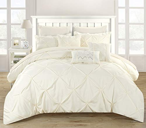 Chic Home 10 Piece Hannah Pinch Pleated, ruffled and pleated complete Queen Bed In a Bag Comforter Set Beige With sheet set