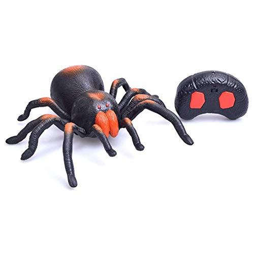 Verschrikkelijke Afstandsbediening Spider Speelgoed, Gemaakt Van Hoogwaardig Kunststof Met Gloeiende LED Ogen Simulatie Structuur Universal Wheel Steering Gratis, Voor Gift Halloween,Black