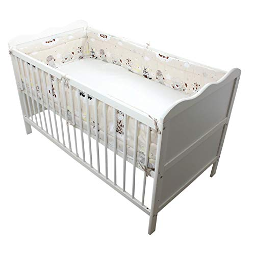 Nestchen Babybett 70x140 cm Bettumrandung Lang Nest Kopfschutz Rundum Bettnestchen Unifarben Motive, Farbe: Weiß, Größe: 420x30cm (für Babybett 140x70)