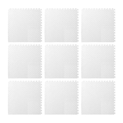 9pcs Foam Floor, Gym Flooring Mat Exercise Mats P uzzle Eva Floor Tiles Foam Exercise Mats, 11.81x11.81x0.47inch, For Play Rooms, Exercise Rooms(White)
