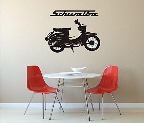 Wandtattoo - Schwalbe - Motorroller - Kult, verschiedene Größen und Farben (450 mm x 350 mm, M070 Schwarz)